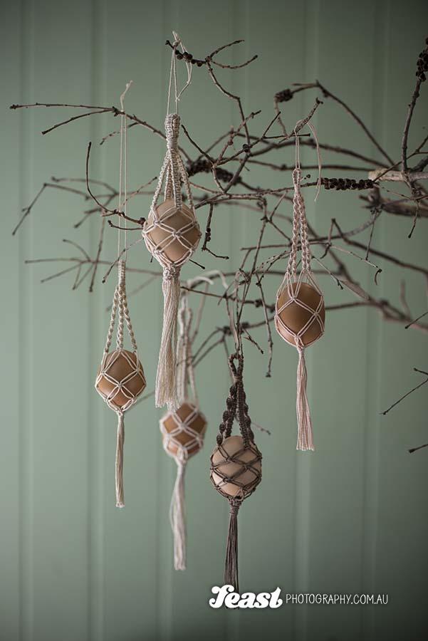 Hemp Macrame hanging egg baskets