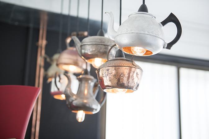 Teapot lights over client coffee bar